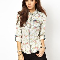 Only | Only Floral Denim Shirt at ASOS
