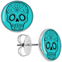 Turquoise Black Sugar Skull Stud Earrings | Body Candy Body Jewelry