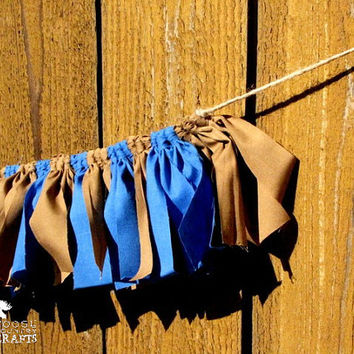Harry potter, Ravenclaw Rag garland, blue and bronze, eagle, photo prop, party decoration, house colors, mantle, HP decoration