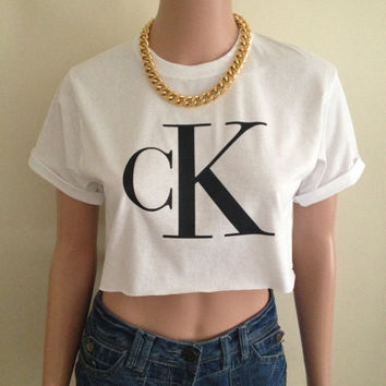 CK Calvin Klein Short Sleeved White Crop Top Tee T Shirt Hipster