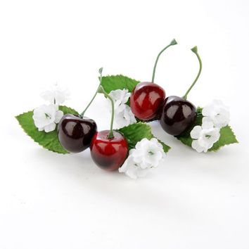 Cherry Hair Clip Pair with Flower Accents