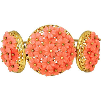 Vintage Hinged Bangle Cuff Bracelet Flower Bouquets Coral Peach