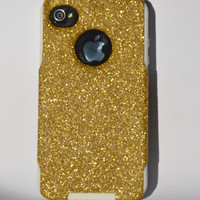 iPhone 4/4s glitter Otterbox Case,  Custom  Glitter Gold / White Otterbox Color Combination, iPhone 4 or 4s cover case