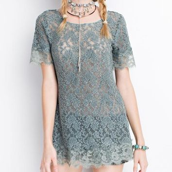 Oil Washed Sheer Lace Tunic Top