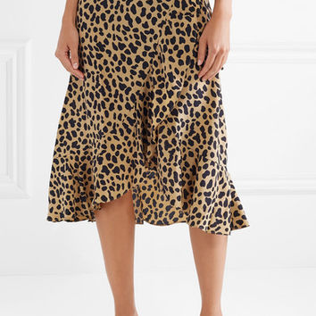 RIXO London - Gracie leopard-print silk-crepe wrap skirt
