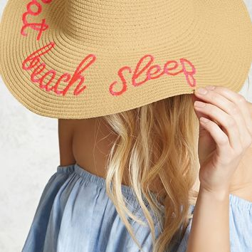 Beach Sleep Graphic Straw Hat