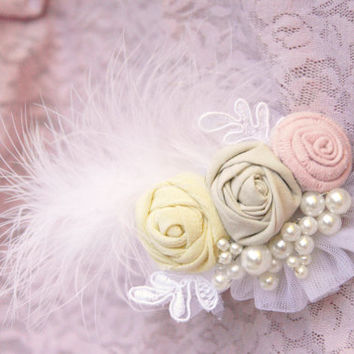 Feathery little miracle/ wedding hair flowers/ Wedding hair accessory/ Wedding hair barrette/ Bridesmaid hair accessories/