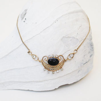 Vintage Victorian Inspired Van Dell Necklace / Gold Filled Onyx Necklace / Vintage Onyx and Clear Rhinestone Necklace