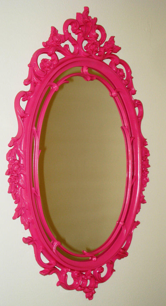 Pink Hollywood Regency Mirror by GroovePad on Etsy