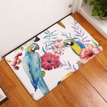 Autumn Fall welcome door mat doormat 2017 Colorful Painting Lovely Parrot Birds Carpets Anti-Slip Floor Mat Outdoor Rugs Animal Front s Non-slip s AT_76_7