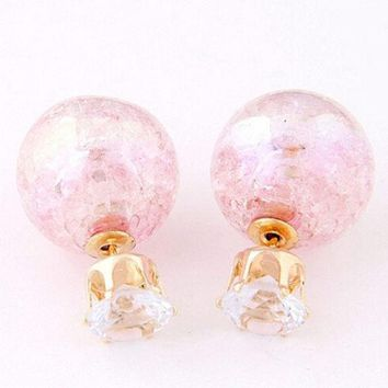 ONETOW Hot Cute Candy Color Double Side Round Pearl Earings Resin Crystal Ball Ear Studs OS = 1958657924