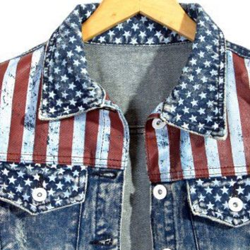 Retro American Flag Washed Denim Vest - Tops - Retro, Indie and Unique Fashion