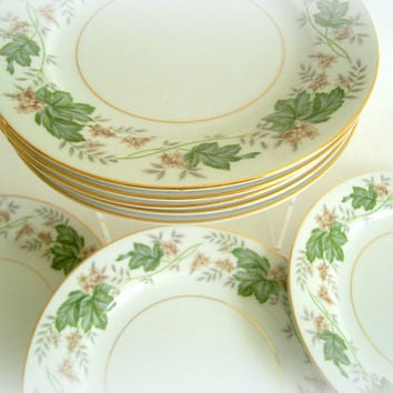Vintage Noritake China Bread and Butter Plates Daphne Pattern 1950's Discontinued Set of 8