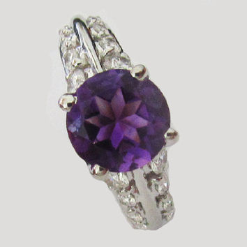 Amethyst Ring, Engagement Ring, Purple color, 18K White Gold,  set with 0.88 ct. VS Diamonds