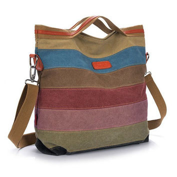 Women Canvas Striped Handbag