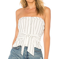 L'Academie The Aries Top in Black White Stripe | REVOLVE