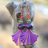 Purple Brass Fan Lampwork Handmade Earrings, Swarovski Crystal Boho Dangle Jewelry