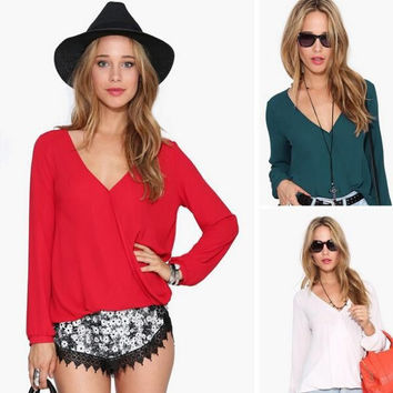 Deep V-neck Long Sleeves Chiffon Plus Size Blouse