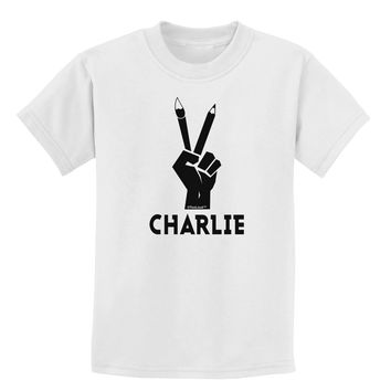 Hand Peace Sign - Charlie Design Childrens T-Shirt by TooLoud