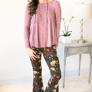 Captivation Floral Bell Bottom Pants - Olive
