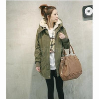 New Winter Women's Fleece Parka Warm Coat Hoodie Zipper Overcoat Long Jacket Army Green  G0081_1 |42201 = 1930288964