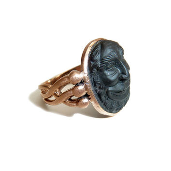 Antique Lava Cameo Ring Of A Man's Smiling Face Set In 15 Carat Rose Gold