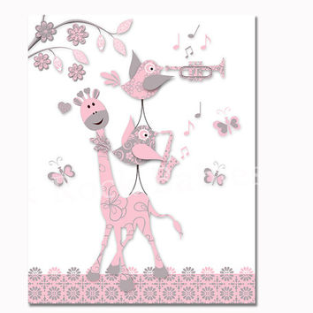 Birds playing music nursery art pink grey giraffe wall decor baby girl room artwork poster for kids playroom decoration print newborn gift