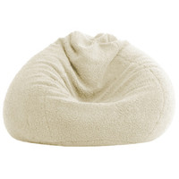 BeanSack Ultra Natural Sherpa Lounge Bean Bag Chair | Overstock.com