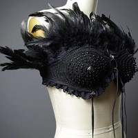 Festival Feather Top - Burning man Clothing - Dance Costume - Rave Clothing - Festival Clothing - Rave Bra