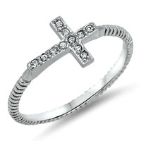 .925 Sterling Silver CZ Christian Cross Sideways Beaded Ladies Ring Size 4-11