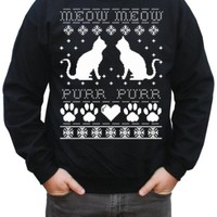 Happy Family Clothing Cat Ugly Christmas Sweater Pullover Sweatshirt