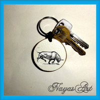 Bull Keychain personalized. Accessories Buffalo animal keyring. White Wood Handmade Keyring Keychain. Unique keychain Wooden natural gift.