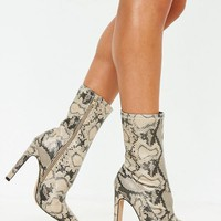 Missguided - Nude Snake Illusion Heel Sock Ankle Boots