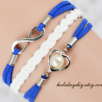 Bridesmaid gifts,Sister gifts,blue bracelet,infinity bracelet, heart shaped with Imitation pearls bracelet,wedding bracelet ,IB256