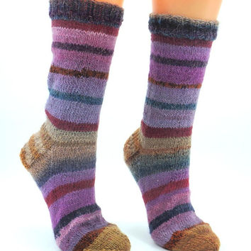 Hand knitted womens wool socks, handmade knitted crazy socks, striped socks, multicolored, mismatched socks, unique socks, fun odd socks