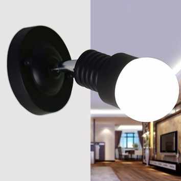 Newest Modern Ac 100-240V Wall Sconces Lamp Minimalist Aisle Bed Balcony Cafe Home Mini Wall Light Decoration Light Black White