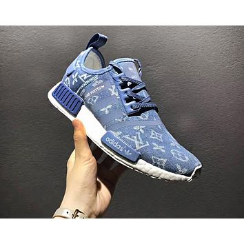 Adidas x Gucci x Louis Vuitton x Supreme NMD Trending Running Sports Shoes Sneakers Blue
