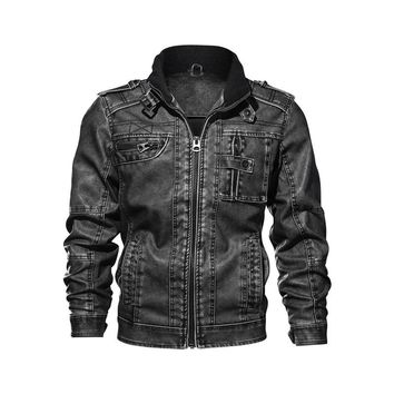 Men's leather jacket new windproof leather coats Causal motorcycle Vintage PU leather jackets