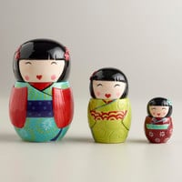 Kokeshi Ceramic Measuring Cups, Set of 3