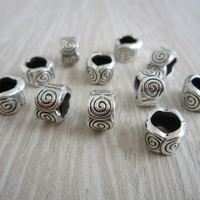 Free shipping 30Pcs/Lot Tibetan silver braid dread dreadlock bead clip cuff approx 5.5mm hole