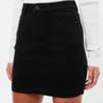 Missguided - Black Denim Super Stretch Mini Skirt