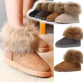 Womens Girl Winter Warm Ankle Snow Boots Shoes Soft Sole Lady Faux Fur (US Size) = 164