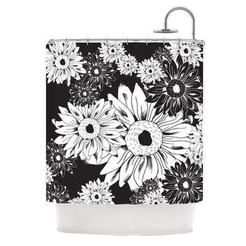 "Laura Escalante ""Midnight Florals"" Black Sunflower Shower Curtain"