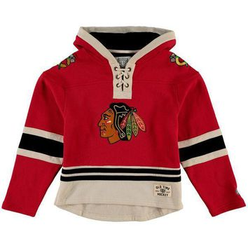 Youth Chicago Blackhawks Old Time Hockey Red Current Lacer Heavyweight Hoodie