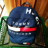 Tommy Hilfiger Trending Fashion Casual Sport Laptop Bag Shoulder School Bag Backpack Black G