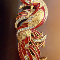 Red Enamel Rhinestone Bird Brooch, Gold Tone, Figural Animal, Vintage