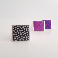 Polka Dot Resin Rings, Purple Fuchia Black and White, Modern Joyful Pastel Resin Unisex Jewelry