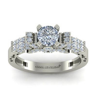 AMAZING 2.25CT WHITE ROUND 925 WHITE STERLING SILVER ENGAGEMENT RING FOR HER