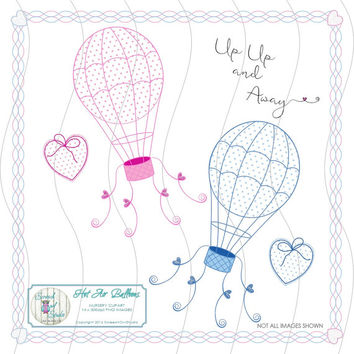 Hot Air Balloons, Nursery Clip Art, Digital Stamps, Line Drawings, Scrapbooking, Journaling, Card Making Elements, Digital Paper Craft,