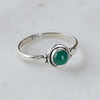 Green Ring, Sterling Silver Ring, Green Stone Ring , Gemstone Ring, Sterling Ring, Girls Rings , Simple Ring, Baby Ring,Green onyx